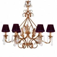 Lámpara de techo estilo clásico acabado en oro 6 luces con pantallas violeta