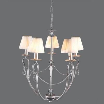 Lámpara de techo clásica modelo Denis plata cinco brazos con tiras y lágrimas de cristal