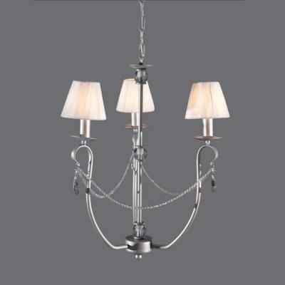 Lámpara de techo Denis acabado en plata 3 brazos con detalles en cristal