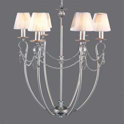 Lámpara de techo Denis 6 brazos acabado en plata con tiras de cristal