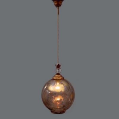 Lámpara de techo Demetrius esfera cristal difuminado en oro viejo