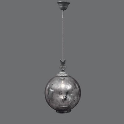 Lámpara colgante Demetrius esférica cristal difuminada en plata vieja