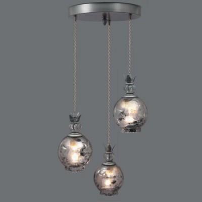 Plafón Demetrius tres luces esferas difuminadas plata vieja