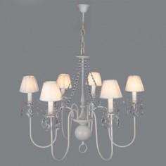 Lámpara holandesa acabado en blanco seis luces con detalles en cristal