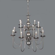 Lámpara holandesa doce luces acabado en plata envejecida