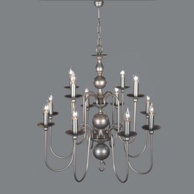 Lámpara holandesa doce luces acabado en plata envejecida con bolas
