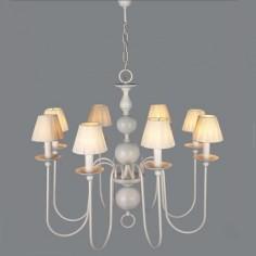 Lámpara holandesa acabado en blanco seis luces decorada con bolas