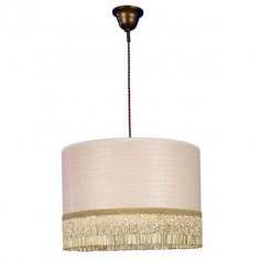 Colgante cordón seda en marrón y pantalla beig con flecos de abalorios