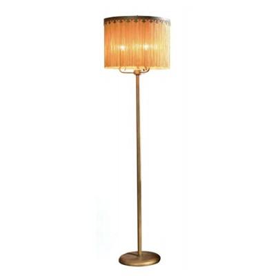 Lámpara de pie color anticuario con pantalla de flecos en beig