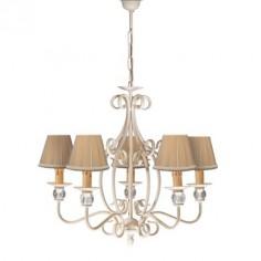 Lámpara de techo nudo cinco luces acabado en blanco con pantallas en beig