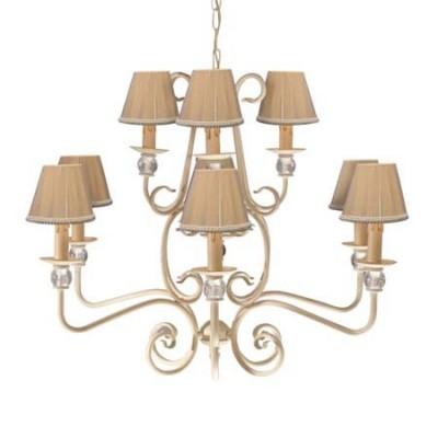 Lámpara de techo clásica nueve luces dos alturas acabado blanco con pantallas en crema