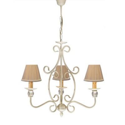 Lámpara de techo nudo estilo clásico tres brazos en blanco con bolitas de cristal