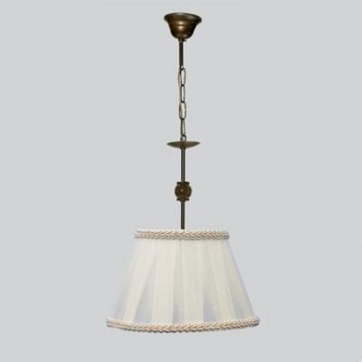 Lámpara colgante nudo acabado envejecido con bolita ámbar y pantalla blanca