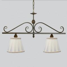 Lámpara de techo nudo lineal dos luces con bolitas tono ámbar