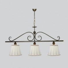 Lámpara de techo nudo tres luces lineal en tono envejecido con bolitas ámbar