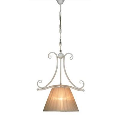 Colgante estilo clásico Calisto en blanco una luz con pantalla en tono crema