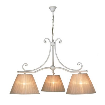 Lámpara de techo clásica lineal de tres luces Calisto acabada en blanco