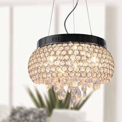 Lámpara de techo Sheffield anillos metálicos con detalles y lágrimas de cristal