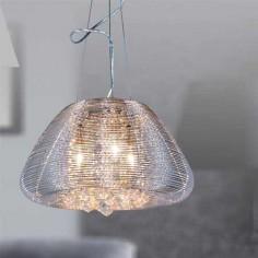 Lámpara colgante Leeds diseño metálico cromado con detalles en cristal