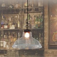 Lámpara colgante Bristol vintage cristal transparente y cuero
