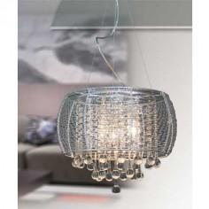 Lámpara colgante Vilna pantalla de cinta de aluminio y cristales de gotas de agua