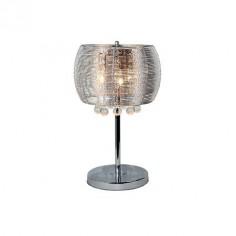 Lámpara de sobremesa Vilna pantalla de cinta de aluminio y detalles en cristal