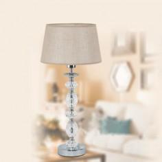 Lámpara sobremesa Manchester cuerpo en cromo y cristal transparente