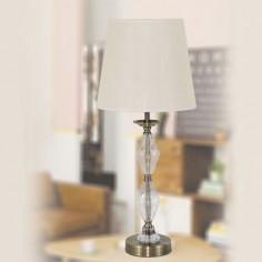 Lámpara sobremesa clásica Birmingham tono cuero con cristal y pantalla beige