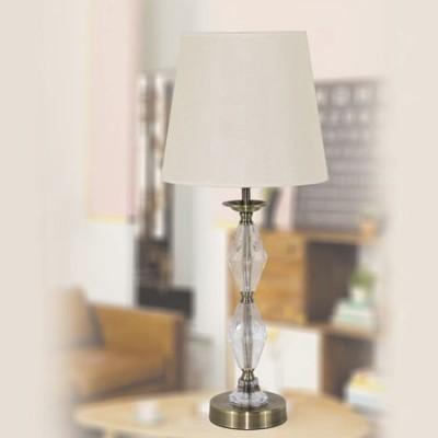 Lámpara de sobremesa clásica Birmingham en dorado con cristal y pantalla alta beige