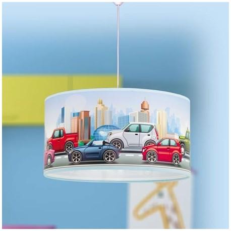 Comprar l mpara de techo infantil pantalla con motivo coches - Lampara techo infantil ...