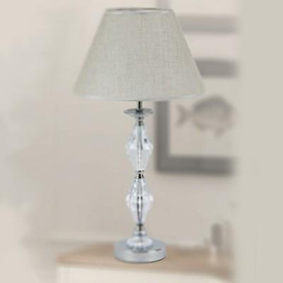 Lámpara de sobremesa clásica Birmingham en cromo y cristal