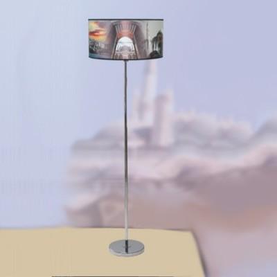 Lámpara de pie juvenil en cromo con pantalla estampada motivo Estambul