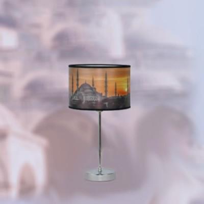 Lámpara de sobremesa colección Estambul con cuerpo en cromo y pantalla serigrafiada