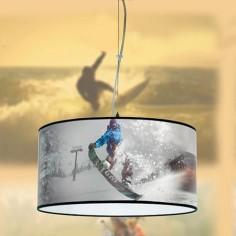 Lámpara colgante juvenil Deporte con pantalla motivo snowboard