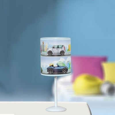 Lámpara de sobremesa infantil pantalla cilíndrica motivo coches