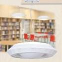 Lámpara colgante circular Toronto metal calado blanco