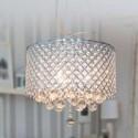 Lámpara colgante metal calado decorada con cristales y brillantes