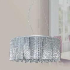 Lámpara de techo Turku con varillas de aluminio y abalorios de cristal