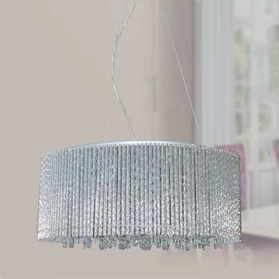 Lámpara de techo varillas de aluminio y abalorios de cristal