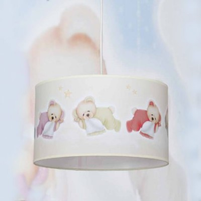 Colgante infantil pantalla en beige con ositos