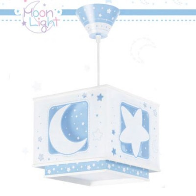 Lámpara colgante diseño infantil pantalla cuadrada Moon Light