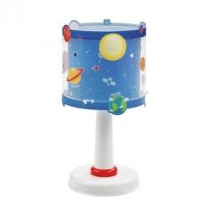 Sobremesa infantil pantalla cilíndrica azul decorada con planetas