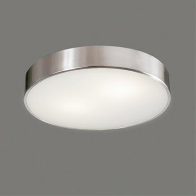 Plafón LED Dins redondo acabado en blanco y níquel satinado