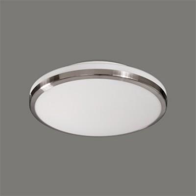 Plafón LED Pisa redondo acabado opal y níquel satinado