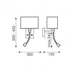 Aplique LED Doble níquel satinado con pantalla blanca con dos luces
