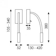 Aplique LED Cio en blanco con brazo flexible