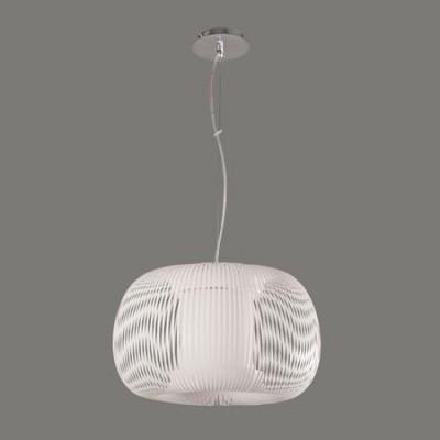 Lámpara colgante Mirta pantalla blanca con tiras forma redonda