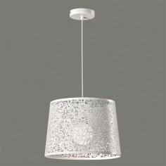 Lámpara colgante Inari pantalla blanca metal calado