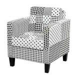 Sillón retro tapizado tela patchwork en blanco y negro