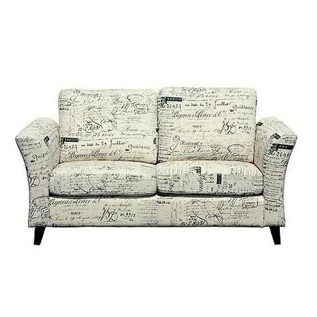 Comprar sof tapizado tela blanco roto con letras en negro - Tela tapizado sofa ...